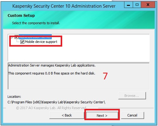Cài đặt Kaspersky Security Center cho Mobile Device Management