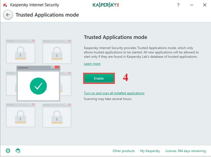 Hướng dẫn bật Trusted Application trong Kaspersky Internet Security