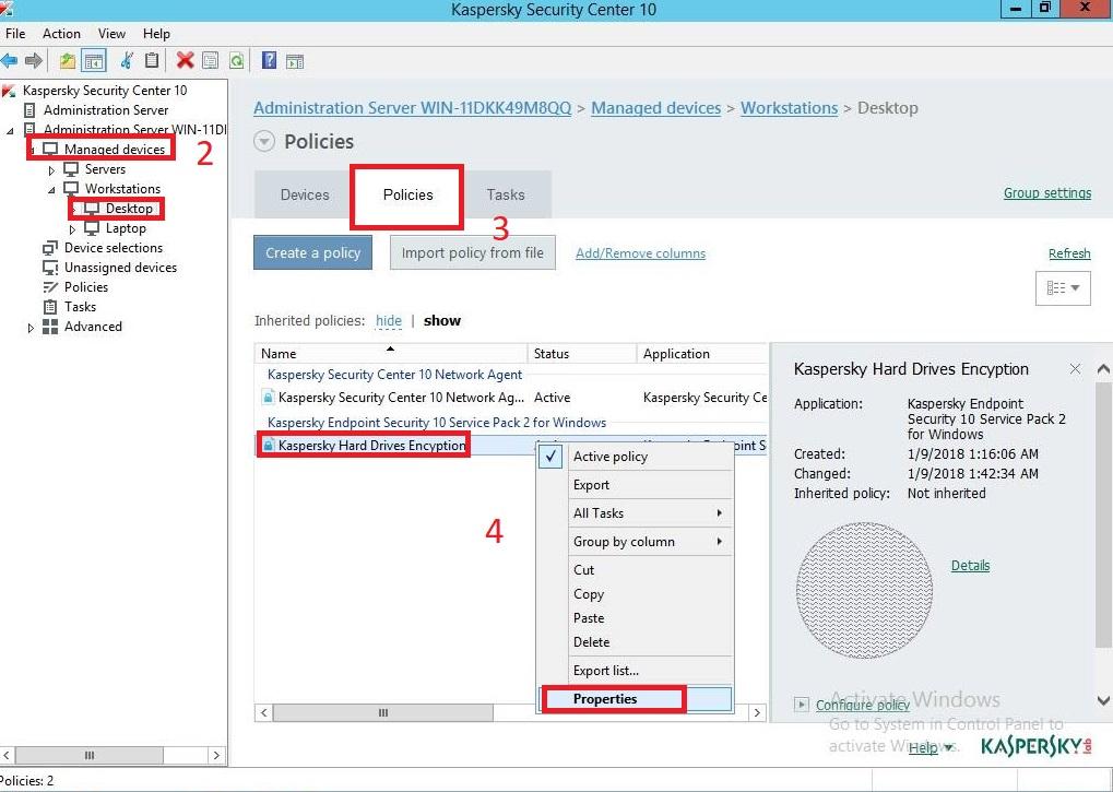 Hướng dẫn bật mã hóa ổ đĩa trên Kaspersky Security Center