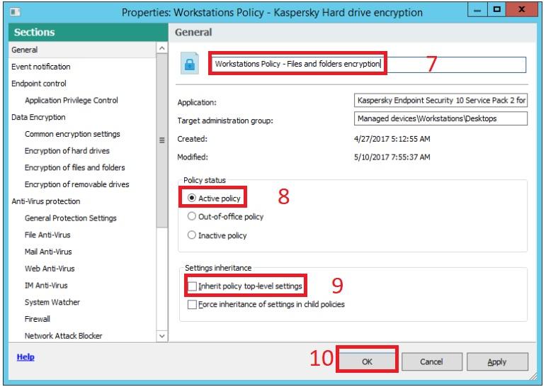 Hướng dẫn bật mã hóa file trên Kaspersky Security Center