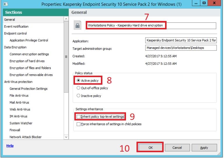 Tạo Policy mã hóa ổ đĩa trong Kaspersky Security Center