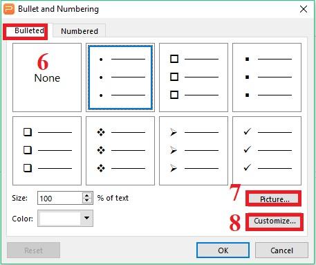 Hướng dẫn sử dụng Bullets và Numbering trong Presentation