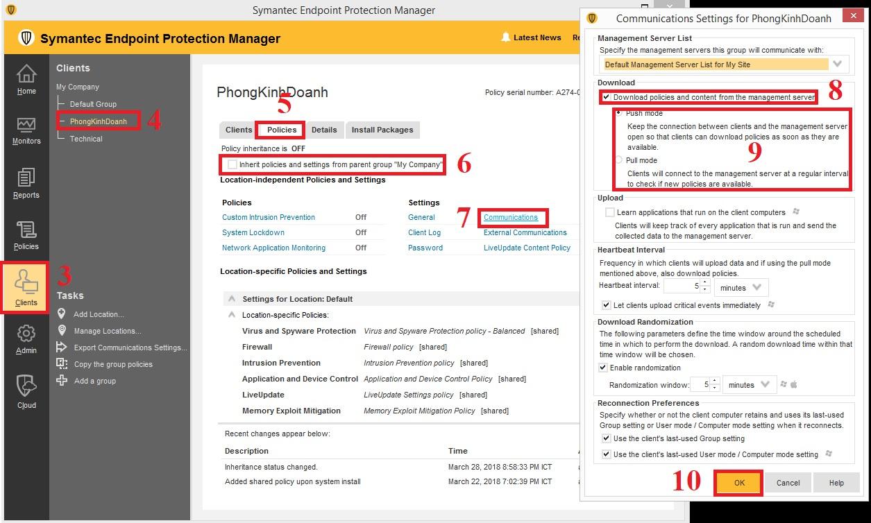 Cấu hình chế độ update policies cho group trong Symantec