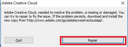 Khắc phục lỗi Adobe Creative Cloud needed to resolve this problem is missing or damaged