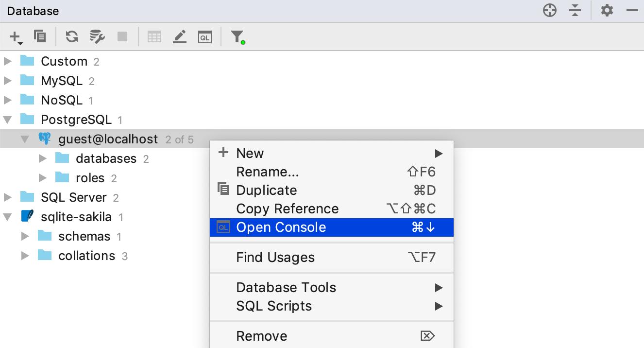 DataBase, Mở Bảng điều khiển